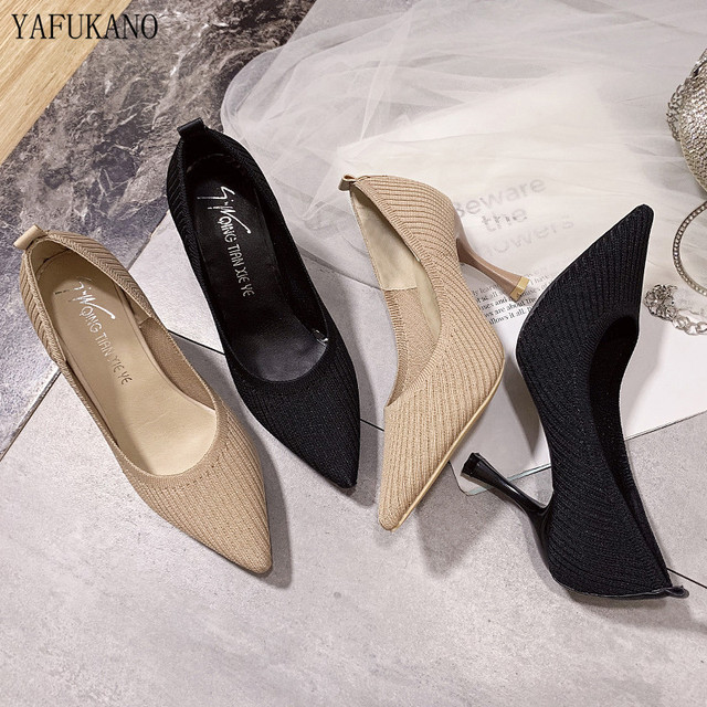 Fashion Black High Heels 2019 New Shallow Mouth Women's Shoes Professional Work Shoes Pointed Toe Stiletto Knitted Single Shoes 2