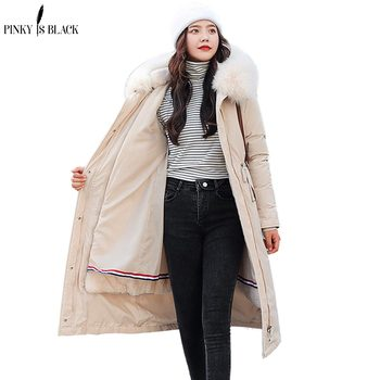 PinkyIsBlack Warm Removable Fur Liner Long Hooded Parkas Jacket Coat Fashion Winter Women Casual Thick