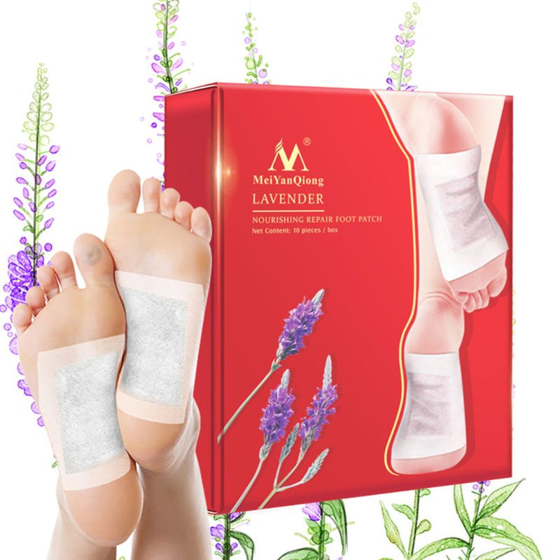 20Pcs/Lot Lavender Detox Foot Patches Pads Nourishing Repair Improve Sleep Bamboo Vinegar With Adhesive Plaster Toxins Cleansing