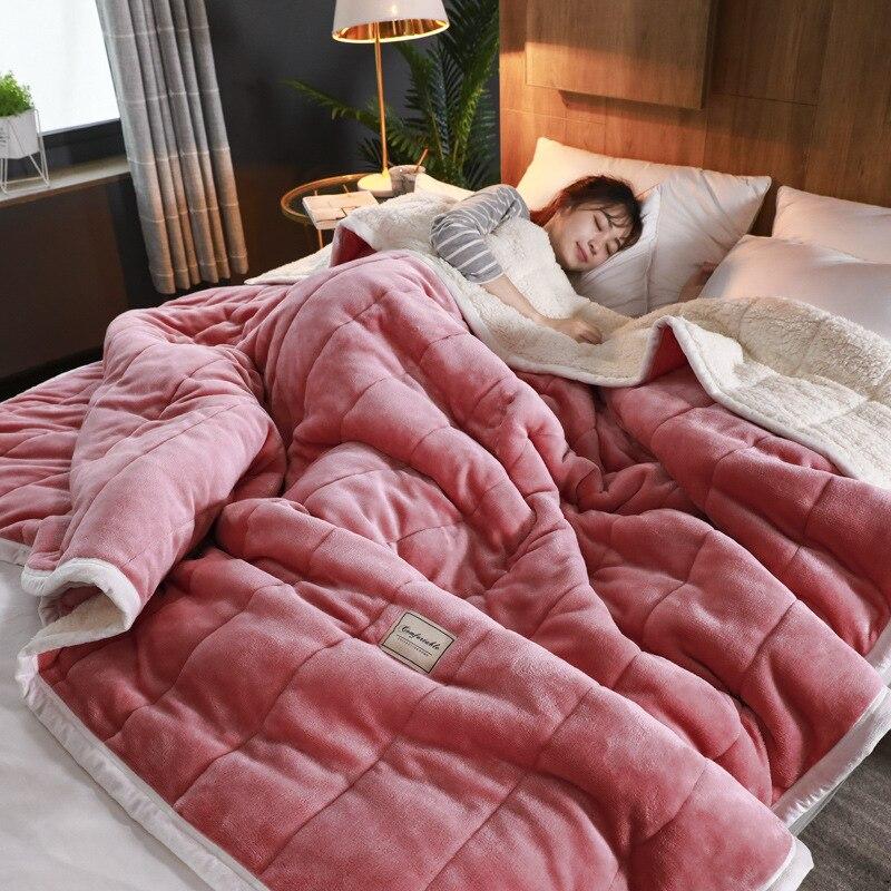 Claroom manta ponderada muy cálidas, mantas gruesas de lujo para camas, mantas de lana y mantas de invierno, funda de cama de adulto UX49 #