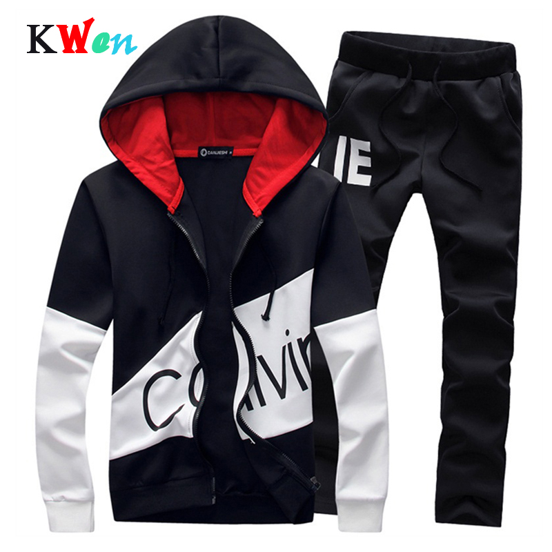 Men Casual Set Sportswear 2019 Autumn Hooded Sweatshirts Sporting Suits Male Solid Tracksuit Pattern Printed Hoodies+Pants 2PCS