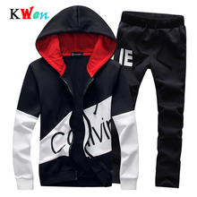 Men Casual Set Sportswear 2019 Autumn Hooded Sweatshirts Spo