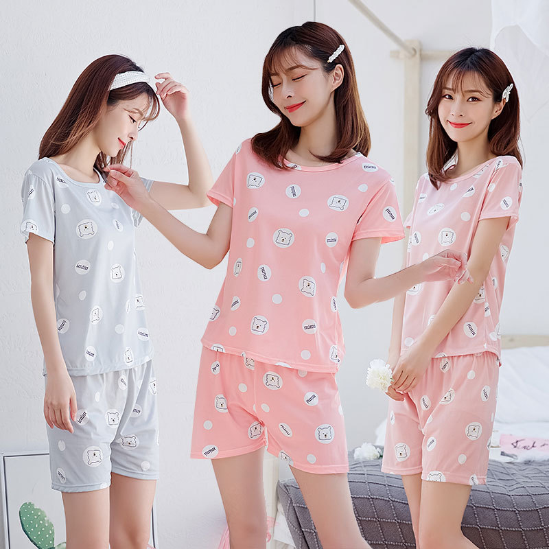 New Style WOMEN'S Pajamas Women's Summer Home Wear Short Sleeve Care Bears Joint SP Circle Lettered Smiley