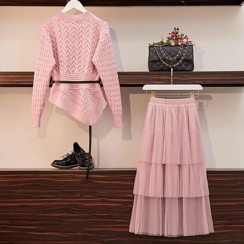 Women Knitted Sweaters Mesh Skirts Two Piece Sets Long Sleeve Pullover Tops Ruffles Skirt Suits Jumpers Outfits