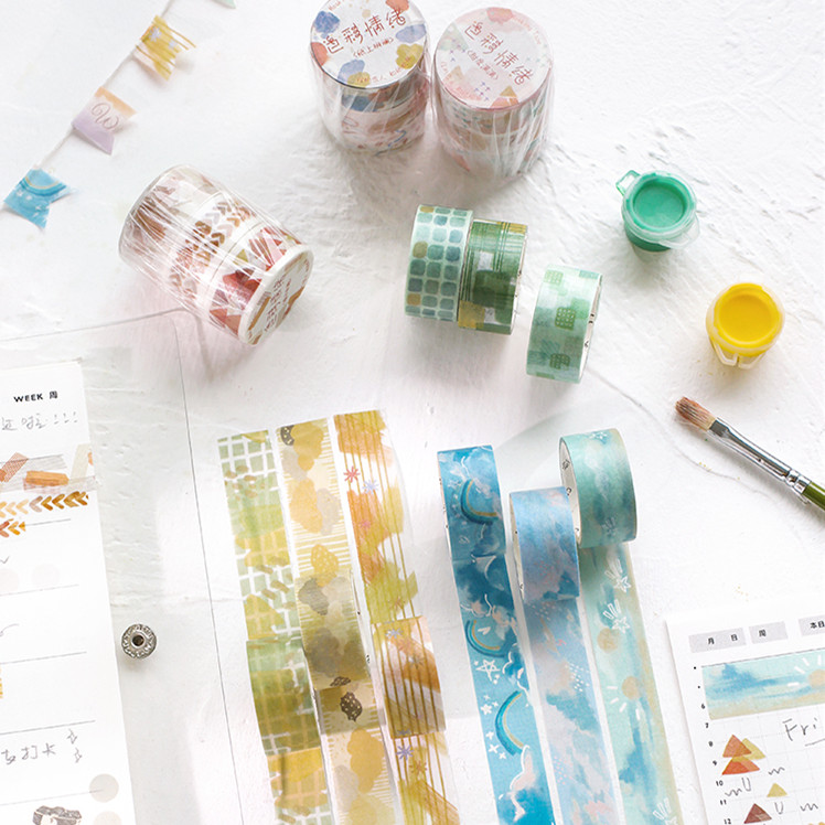 3pcs/pack Lovely Graffiti Pattern Washi Tape Set Decorative Tape Paper Label Masking Sticker Tape