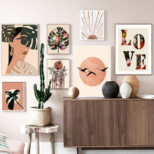 Cuadro de lienzo de estilo Bobo con paisaje Vintage, póster abstracto de flores y hojas, Impresión de frase romántica, cuadro artístico para pared, decoración del hogar