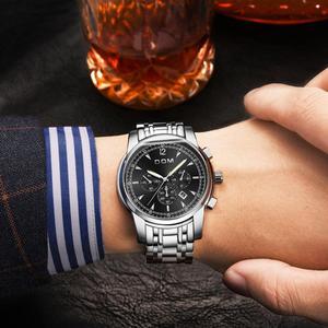 Image 5 - DOM montres de sport pour hommes, chronographe de marque, étanche, à Quartz lumineux, en acier, montre pour hommes