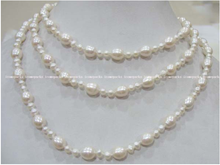 "wholesale 50"" AA white round 4-5mm and egg 9-10*7-8mm freshwater pearl necklace(China)"