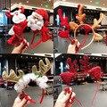 Милая Пижама с рождественским принтом, повязка на голову, уважаемый Сан с принтом «Снеговик» и «олень» рога оленя для волос Группа Рождеств...