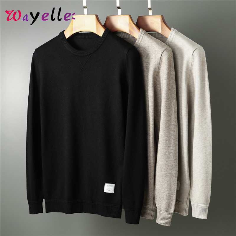 Men Sweater O-Neck Solid Knitted Sweater Men 2019 Medium-thick Undercoat Casual Sweater Pullover Autumn Winter Warm Sweater