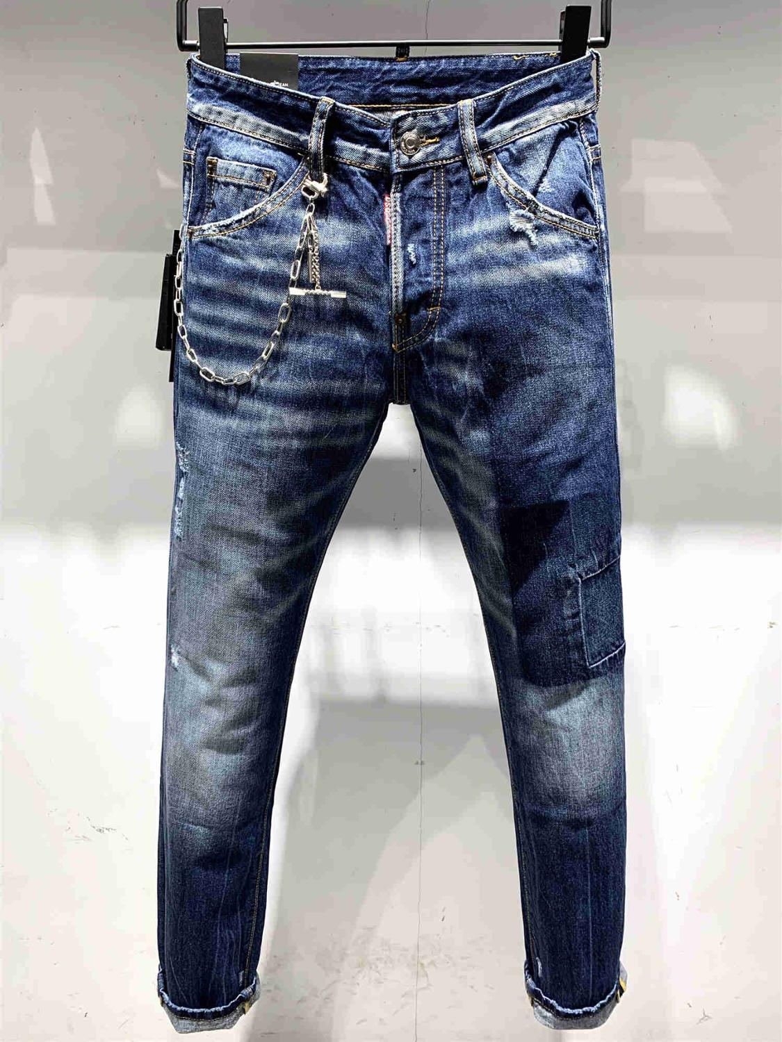 2019  Dsq Men's Jeans Printed With Hole Washed Casual Skinny Denim Jean For Man 100% Cotton Button Zipper