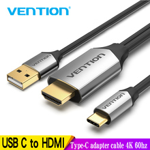 Vention USB C สาย HDMI 4K 60Hz ประเภท C ถึง HDMI Thunderbolt 3 Converter สำหรับ MacBook HUAWEI Mate 30 Pro USB Type C HDMI Adapter