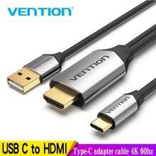 Vention cabo de hdmi e usb 4k 60hz, conversor thunderbolt 3 para macbook, huawei mate adaptador usb tipo c 30 pro
