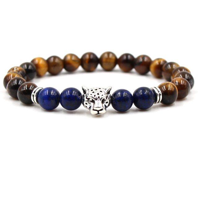 Fashion leopard bead bracelet lucky charm classic natural stone couple bracelet men and women fashion Valentine's Day Gift