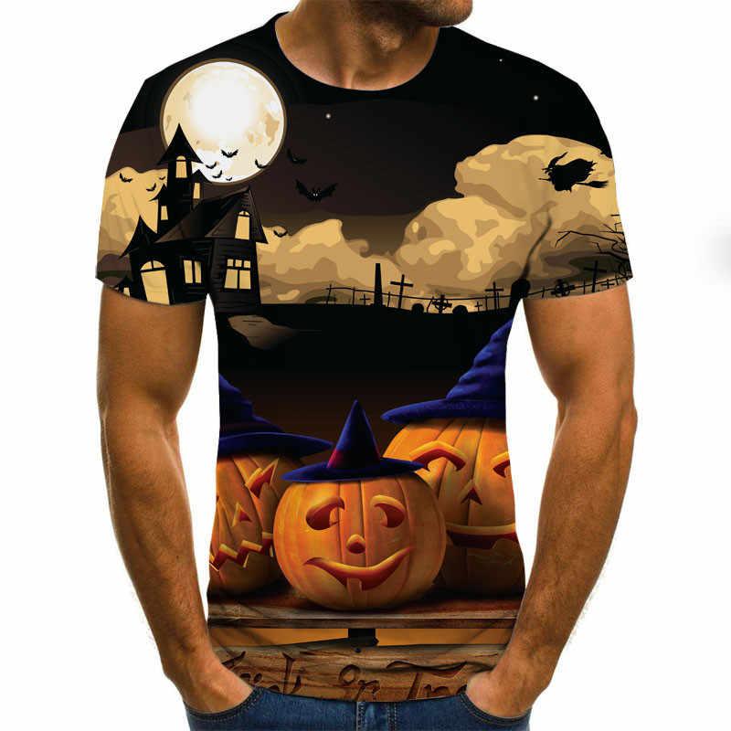Herren Schädel kürbis laterne T shirts Mode Sommer Kurzarm Ghost Rider Kühlen T-shirt 3D Schädel Drucken Tops Schädel T-shirt männer