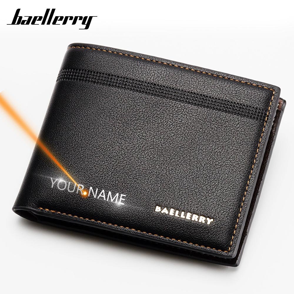 2020 Men Wallets Short Name Engraving Card Holder Top Quality Wallet For Men Business Solid Male Thin Wallet Brand Carteria