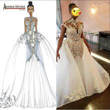 חדש יוקרה אפריקאי כלה שמלת חתונת שמלות בת ים שמלה עם חצאית 2 ב 1