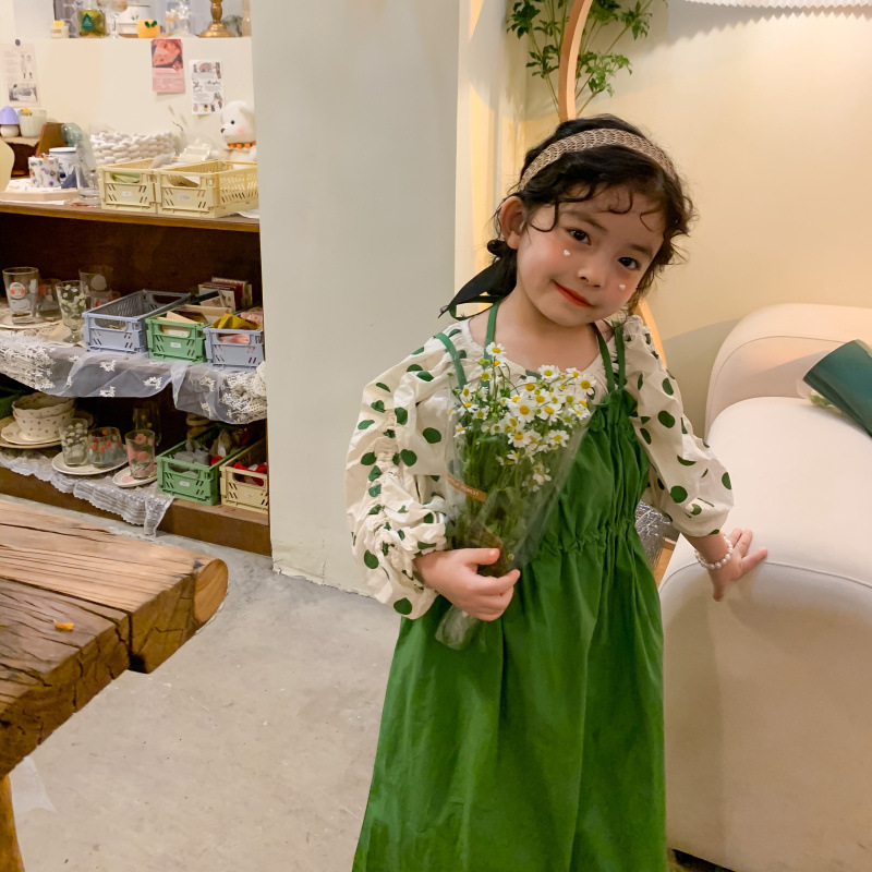 1868.0¥ 42% OFF|MILANCEL 2021 Autumn New Girls Clothing Set Puff Sleeve Dot Blouse And Solid Dress ...