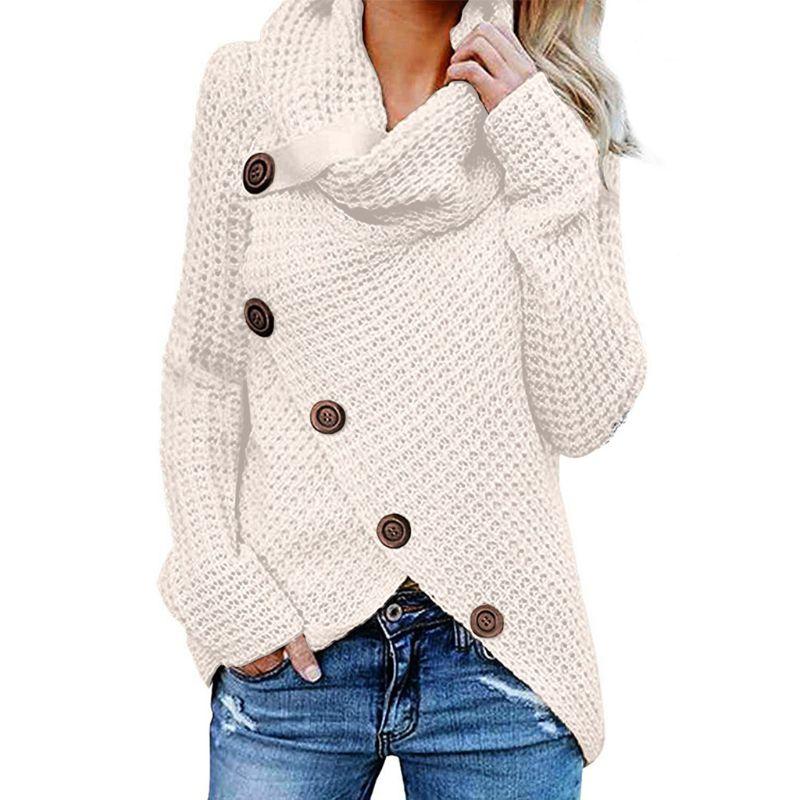 Womens Winter Autumn Long Sleeve Pullover Tops Turtleneck Oblique Buttons Waffle Knitted Irregular Hem Loose Sweatshirt