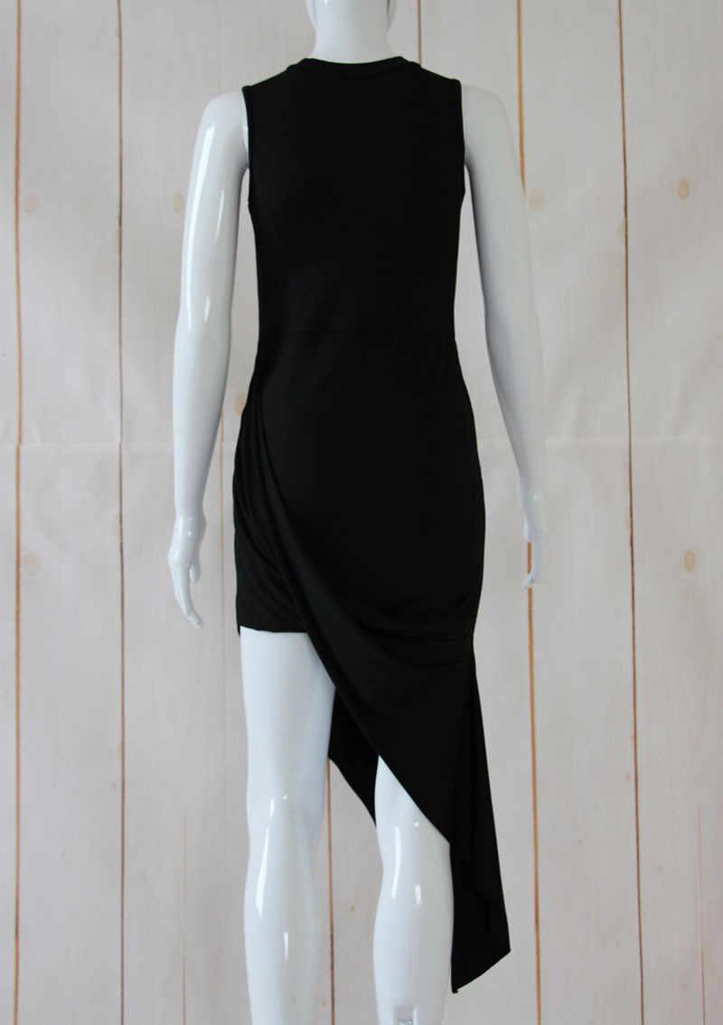 فستان نسائي مثير بدون أكمام بأشرطة فستان طويل للحفلات غير متماثل من فيستيدوس دي فييستا سوكينكي فستان بودي كون رداء نسائي