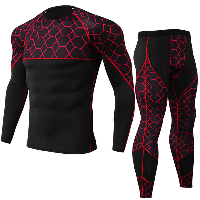 gym clothing Men's PRO tights, fitness sports, running training suits, stretch quick-drying suits, long sleeves + trousers 2020