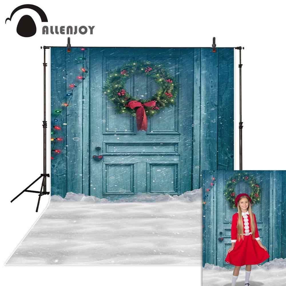 Allenjoy photo background Christmas background blue door flowers colorful small light bulbs snow photography backdrops studio