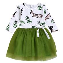 Spring Autumn Toddler Girl Dress Cotton Long Sleeve Green Kids Dresses for Girls Fashion Clothing