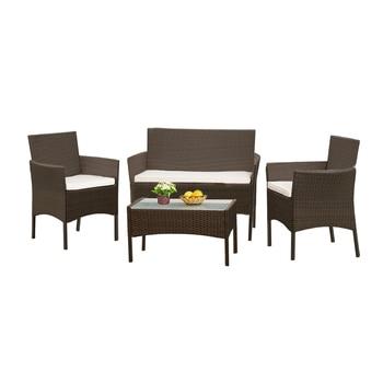Panana DZ�のソファチェアテーブルセットの 4 Ã�ット販売籐ガーデン家具コーヒーテーブル籐のソファチェアスツール高速配信