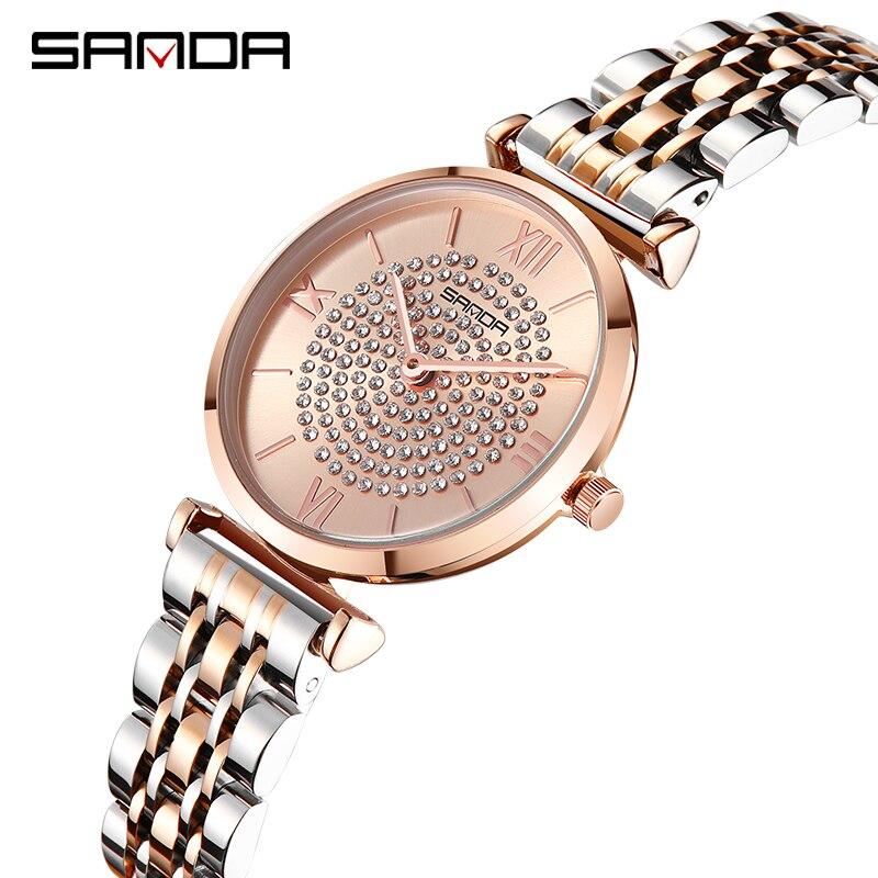 SANDA Luxury Diamond Stainless Steel Strap Women's Quartz Watch Business Waterproof Clock Wristwatch Female Relogio Feminino