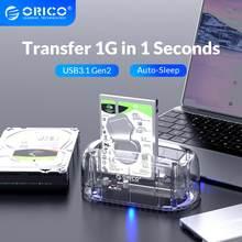 ORICO stacja dokująca HDD 2.5 3.5 USB3.1 Gen2 typu C 10 gb/s obudowa dysku twardego etui na dysk zewnętrzny przezroczysty obudowa do twardego dysku