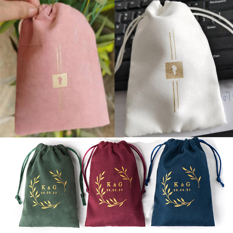 Custom Personalized Flannel Gift Bags Sack All Size Hair Eyelashes Makeup Jewelry Drawstring Pouch