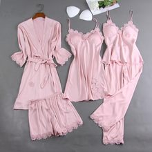 5PCS Pajamas Sleep Set Women Nightwear V-Neck Lace Sleepwear Sexy Nightie Spring Robe Gown Bathrobe Wear Home Suit Negligee(China)