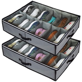 Under Bed Shoe Storage Organizers ,2 Pack Fit 24 Pairs, Underbed Shoe Storage Containers Box Bags with Clear Cover