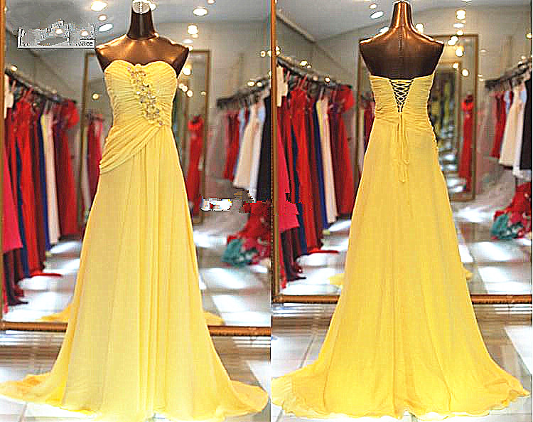 vestido de noiva sequin 2019 Sexy Prom Dresses Yellow Chiffon Sweetheart Beads Lace up Pleated Evening Party gown prom Dress