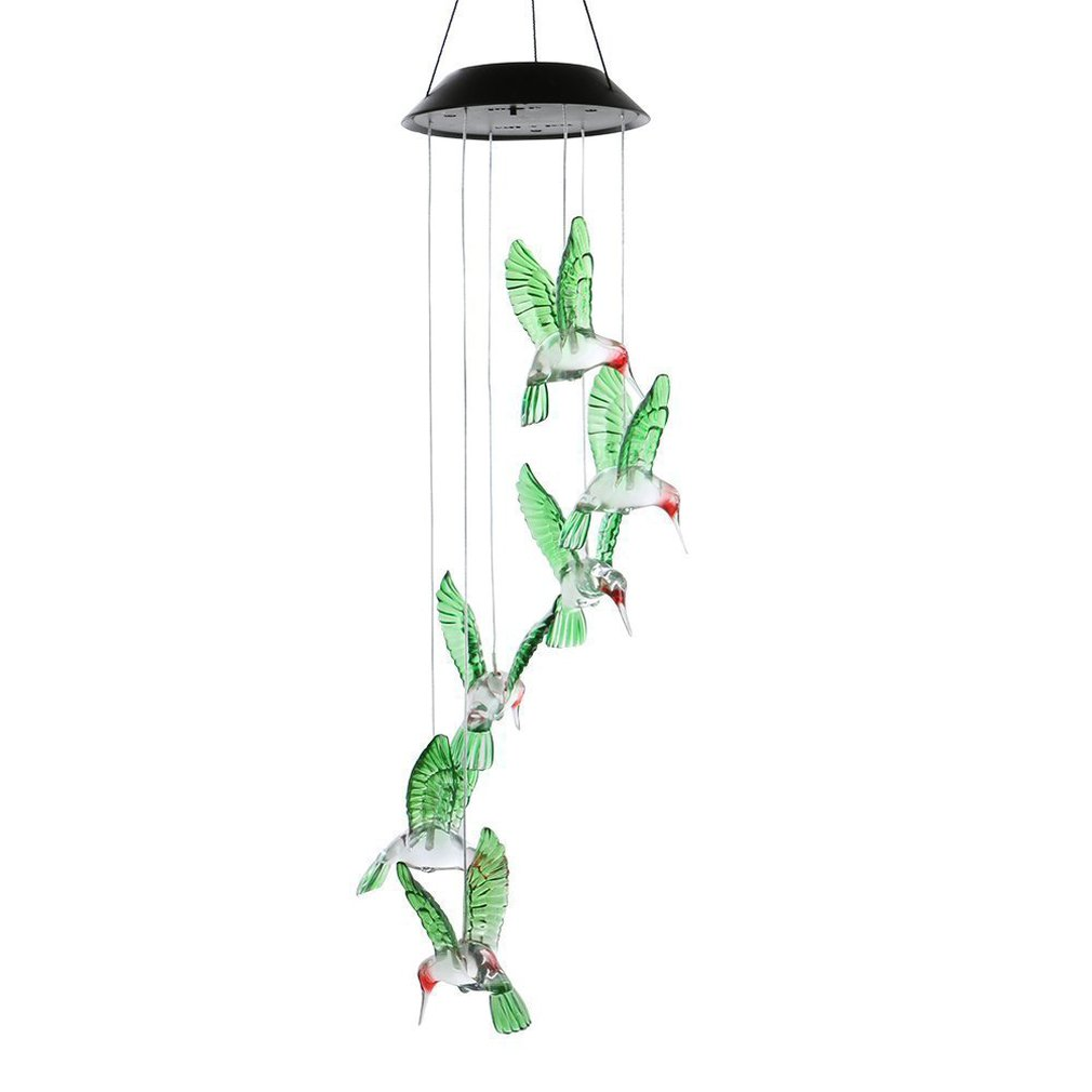 Outdoor Energy Efficient Solar Color Changing LED Hummingbird Wind Chimes Balcony Garden Child Room Decor Light Lamp