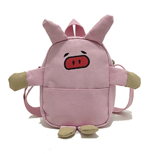 Lady Crossbody Cartoon Cute Pig Hangbags Canvas Slanting Bag Girl Piggy Phone Hold Student Shoulder Messenger Purse