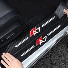 4 pçs adesivos de carro para audi a7 tira anti risco protetor do peitoril da porta fibra carbono auto limiar proteção pára-choques filme adesivo