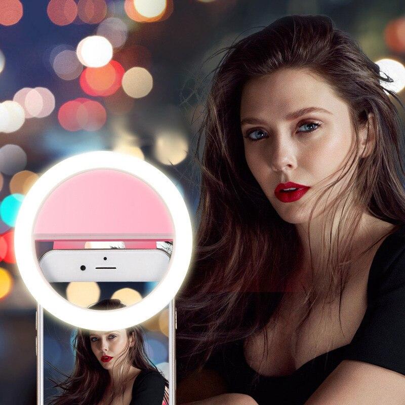 Universal Selfie Lamp Mobile Phone Lens Portable Flash Ring 36 LEDS Luminous Ring Clip Light For iPhone 11 Plus Samsung S8