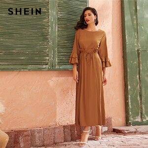 Image 3 - SHEIN Camel couche à plusieurs niveaux cloche manches à volants garniture élégante robe plissée femmes 2019 automne taille haute cordon Maxi robes