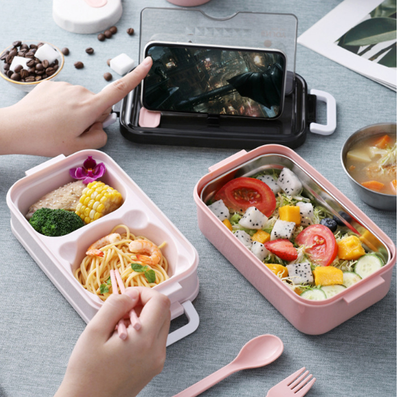 Lunch-Box Food-Storage-Box Stainless-Steel 2layers Microwae Heating Kids School for Office