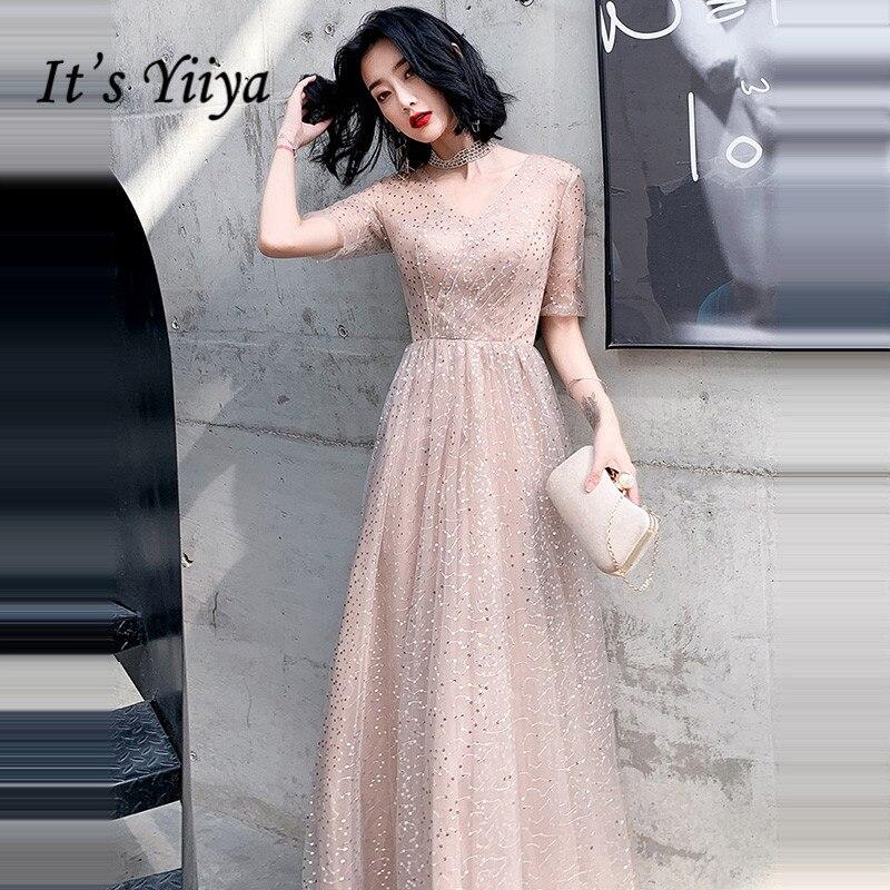 It's Yiiya Evening Dresses Elegant V-neck For Women Formal Gowns Long Robe De Soiree LF234 Illusion Plus Size Evening Dress