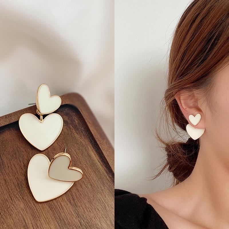 2020 New Fashion Korean Drop Earrings For Women White Enamel Double Heart Korean Jewelry Female Earring Girls Gift