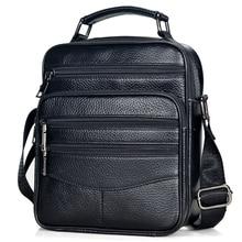 Bolsos De piel auténtica para hombre, alta piel de vaca de calidad, bolsos de mensajero de piel para Ipad, bolso de negocios, maletín de tamaño medio