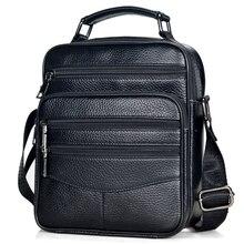 Erkekler hakiki deri çantalar erkek yüksek kaliteli inek derisi deri postacı çantası erkek Ipad iş çantası orta boy evrak çantası Tote