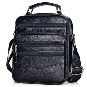 Image 1 - Hommes en cuir véritable sacs à main mâle de haute qualité en cuir de vachette sacs de messager hommes Ipad sac daffaires taille moyenne mallette fourre tout
