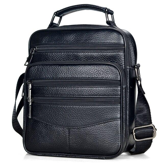 Hommes en cuir véritable sacs à main mâle de haute qualité en cuir de vachette sacs de messager hommes Ipad sac daffaires taille moyenne mallette fourre tout