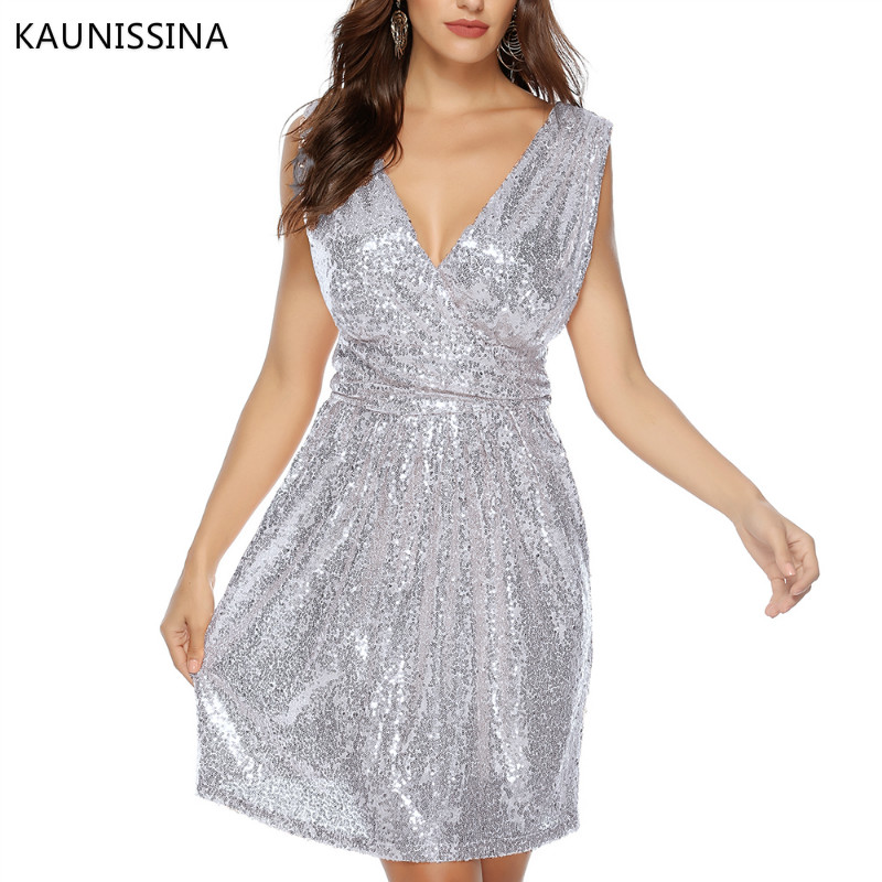 Image 5 - KAUNISSINA Women Sexy Sequins Cocktail Dress Solid V Neck Sleeveless High Waist Dress Homecoming Dresses Party Gown Real PhotoCocktail Dresses   -