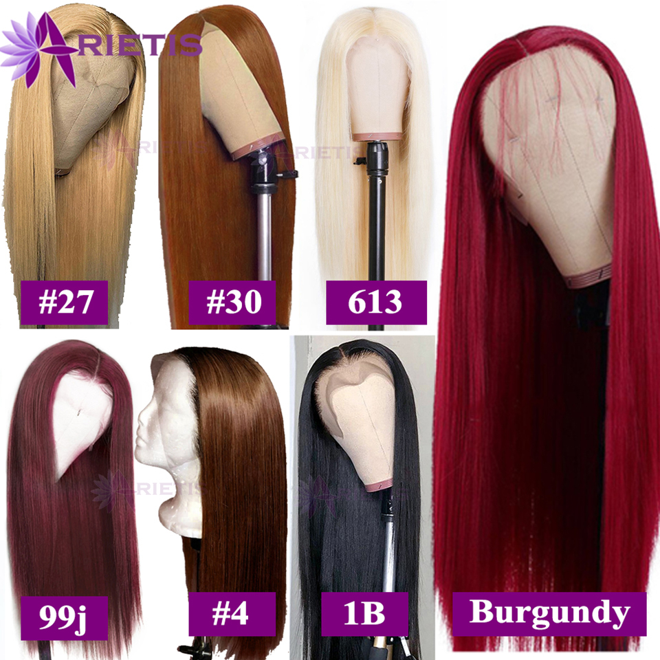 99J Glueless 13x4 Lace Front Human Hair Wigs Remy Brazilian Straight Human Hair Wig Pre-Plucked With Baby Hair Burgundy/#27/#30