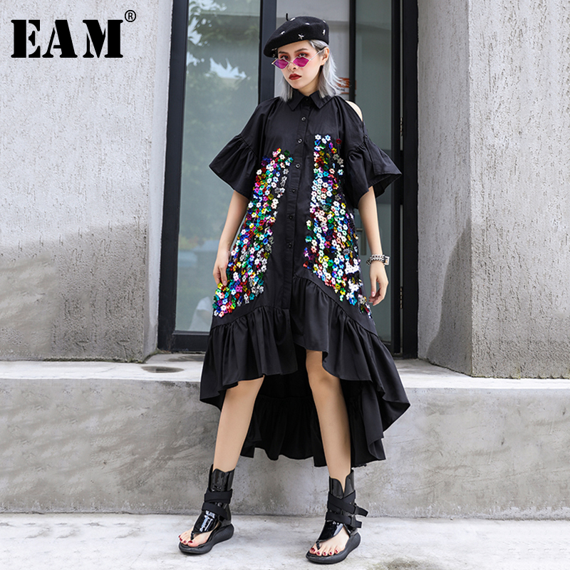 [EAM] Women Black Sequins Ruffles Back Long Shirt Dress New Lapel Half Sleeve Loose Fit Fashion Tide Spring Summer 2020 1S889