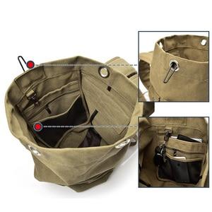 Image 5 - Mochila de lona multiusos para hombre, bolso de viaje para montañismo, de hombro grande, plegable para viaje del ejército XA1934